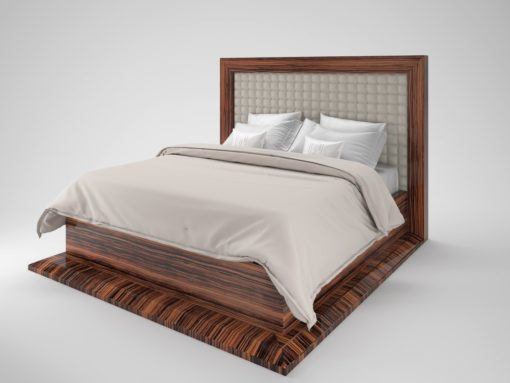 Art Deco desin macassar bed, bedframe, bedroom furniture, interior design, wood, leather, stiching, buttons, luxurious design,