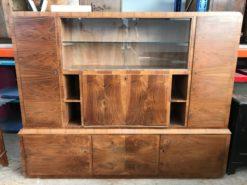display cabinet, unrestored, brown, great foot, veneer, antique, living room, elegant, luxury, large, stable, pattern, glass, wall cabinet