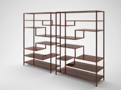 Pair of Macassar Design shelves, Art Deco design, style, luxurious, precious woods, compartments, interior design, grain, elegant, living room