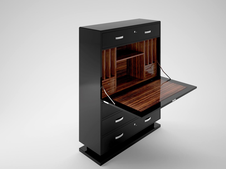 modern black lacquer secretary original antique furniture. Black Bedroom Furniture Sets. Home Design Ideas