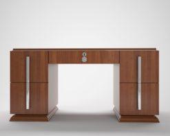 Art Deco, Custom Desk, Design, Interior Design, Walnut, Grain, furniture, luxurious, elegant, chrome handles, large, unique, living room, office