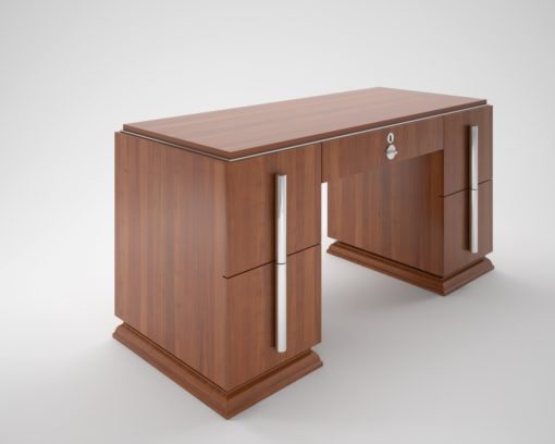 Art Deco, Custom Desk, Design, Interior Design, Walnut, Grain, furniture, luxurious, elegant, chrome handles, large, unique, living room, office