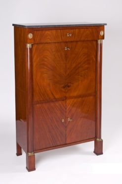 secretaire, france, veneer, mahogany, walnut, writing flap, three-parted, luxury, design, restored, concave, curved, living room