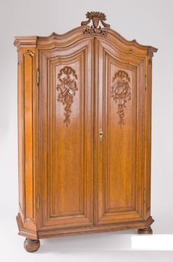 cabinet, france, veneer, oak, classicism, writing flap, three-parted, luxury, design, restored, concave, curved, living room