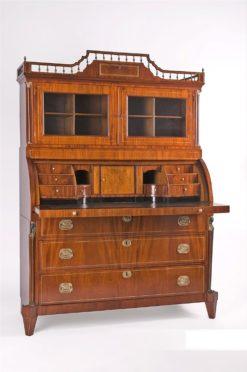 cabinet, netherlands, veneer, mahogany, walnut, writing flap, three-parted, luxury, design, restored, empire, curved, living room