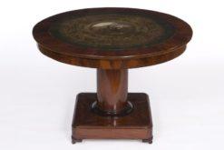 table, saloon table, mahogany, painting, rare, belgium, pedestal, luxury, old, restored, living room, veneer, napoleon, frieze