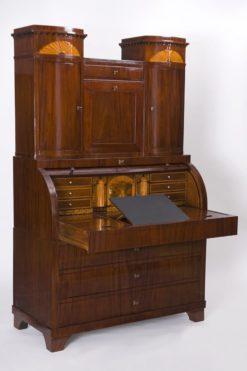 brown, highgloss, secretaire, biedermeier, nice foot, living room, drawer, lack, Luxus, Furnier, Chromlinien, mahogany, maple