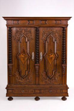 cabinet, baroque, german, veneer, walnut wood, walnut, swabian, three-parted, luxury, design, restored, concave, curved, living room