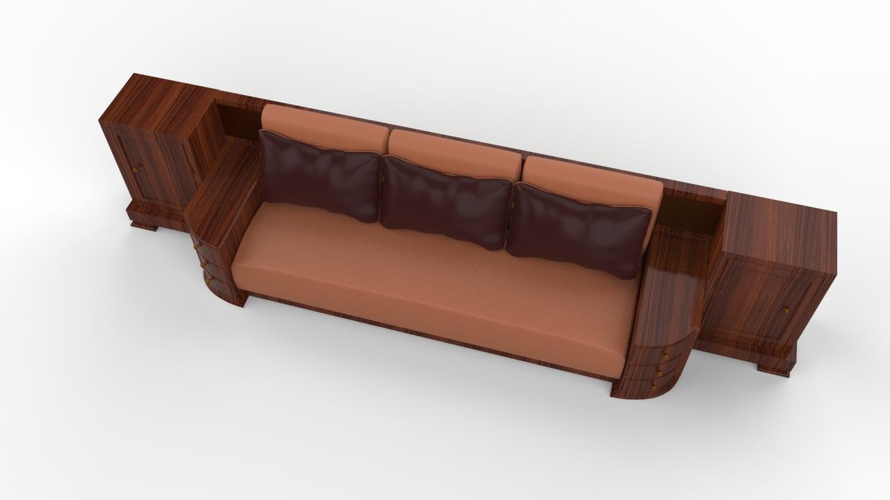 Large Walnut Art Deco Sofa Original Antique Furniture