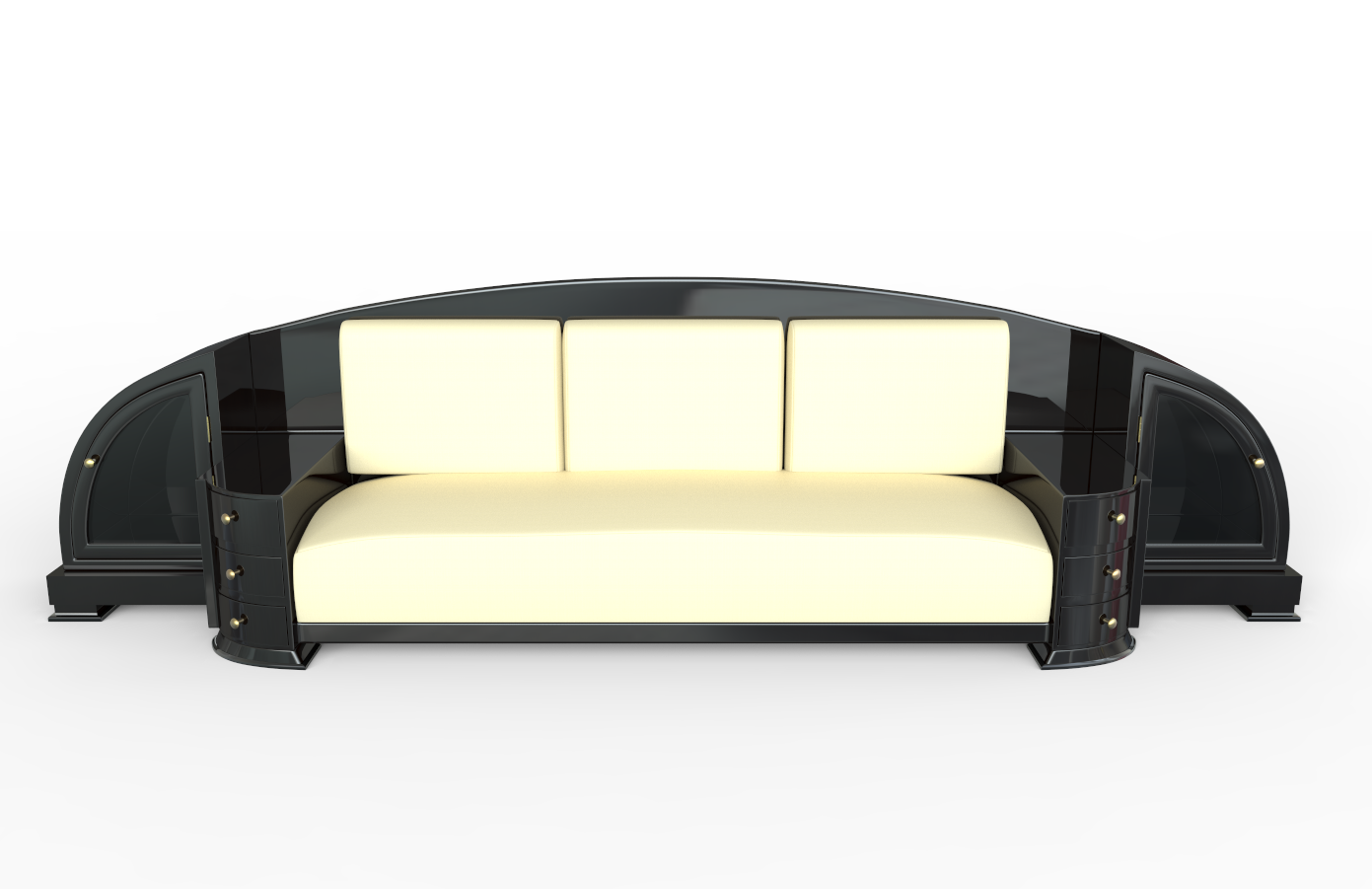 Black Art Deco Sofa Original Antique Furniture