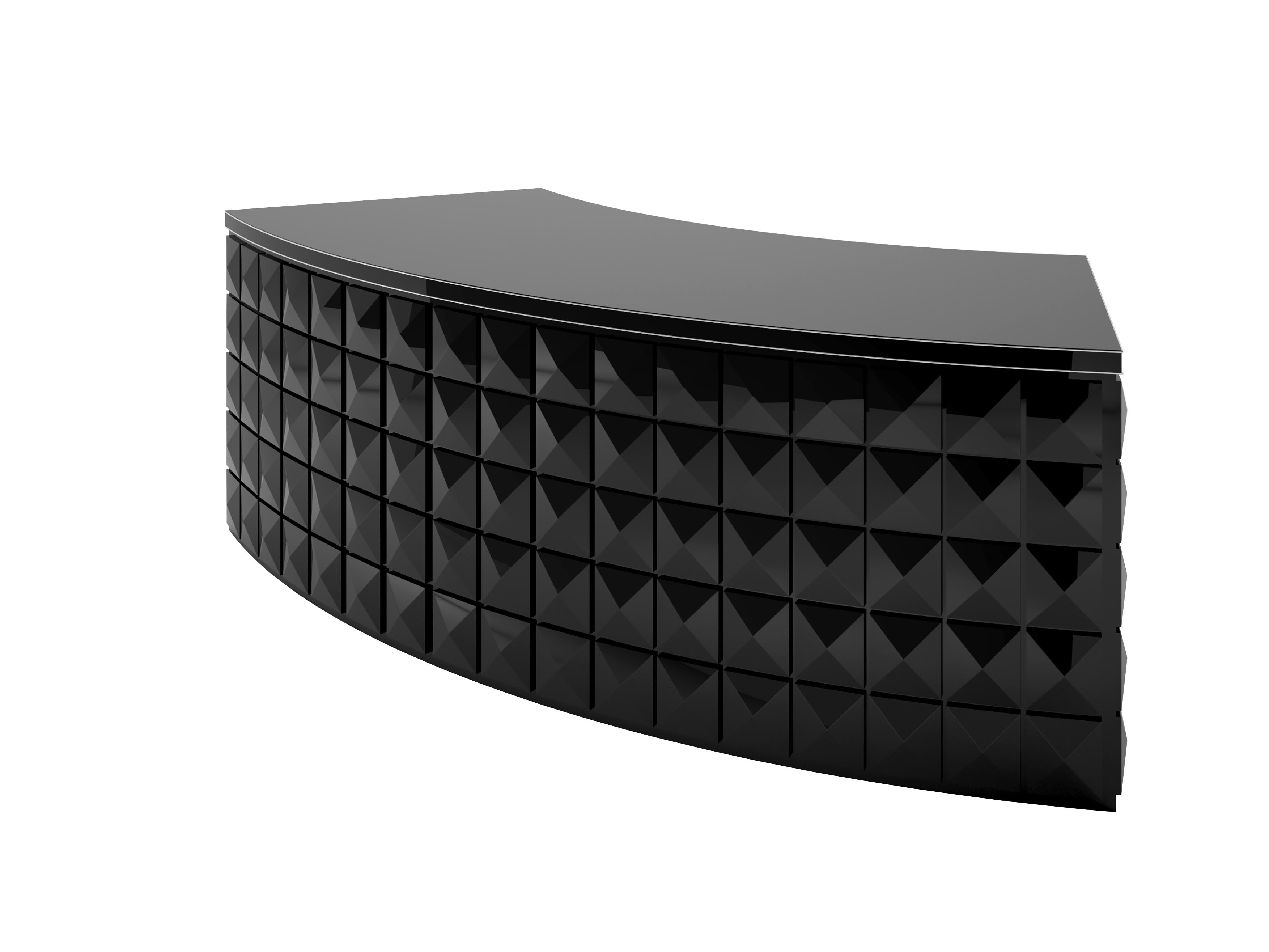 Diamond Pattern Black Lacquer Desk