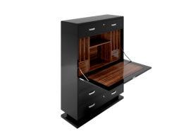 modern black lacquer secretary, bureau, high end, high gloss finish, drawers, chrome details, handles, macassar veneered interior, interior design