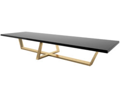 black and gold xxl dining table, dining room, large table, gold leaf, panel, high gloss, hand polished, luxurious, design, interior, decoration