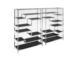 pair of customizable design shelves, stainless steel, chrome, polychromed, cut glass, black, high end, high gloss, macassar, interior design, storage