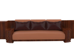 large walnut art deco sofa, grain, wood, design, antiques, original, french, luxurious woods, leather, customizable, drawers, cabinets, living room, handles, interior design