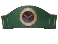 Leaf Green, Art Deco, Desk Clock, Grandfather Clock, 1940s, Design, lacquer, Interior Design, office decoration, home decor, antique, original, dial