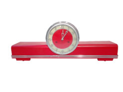 Art Deco Desk Clock, high gloss red, design, chrome bars, applications, office, decoration, interior design, home decor, original, 1940s, france, european