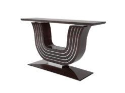 Walnut Design console, table, wall console, customizable, wood, grain, chrome bars, interior design, living room, luxury items