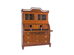 cabinet, netherlands, veneer, mahogany, walnut, writing flap, three-parted, luxury, design, restored, empire, curved, living room