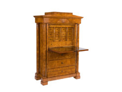 cabinet, german, veneer, walnut wood, walnut, writing flap, three-parted, luxury, design, restored, concave, curved, living room
