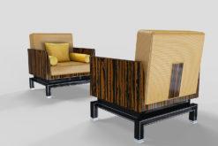 pair of Art Deco Design Armchairs, original, antique, design, interior design, macassar, fabric, gold, chrome details, piano lacquer, interior, home decoration, ebony, luxurious