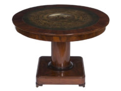 table, saloon table, mahogany, painting, rare, belgium, pedestal, luxury, old, restored, living room, veneer, napoleon, frieze