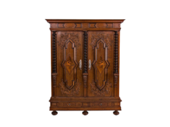 cabinet, baroque, german, veneer, walnut wood, walnut, swabian, three-parted, luxury, design, restored, concave, curved, living room