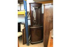 Display cabinet, unrestored, brown, great foot, veneer, antique, living room, elegant, pattern, luxury, large, stable, pattern, corner showcase