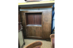 cupboard, unrestored, brown, great foot, veneer, antique, living room, elegant, pattern, luxury, large, stable, pattern, cabinet