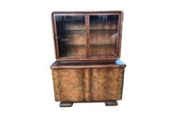 Display cabinet, unrestored, brown, great foot, veneer, antique, living room, elegant, pattern, luxury, large, stable, pattern, walnut