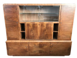 display cabinet, unrestored, brown, great foot, veneer, antique, living room, elegant, luxury, large, stable, pattern, glass, wall cabinet