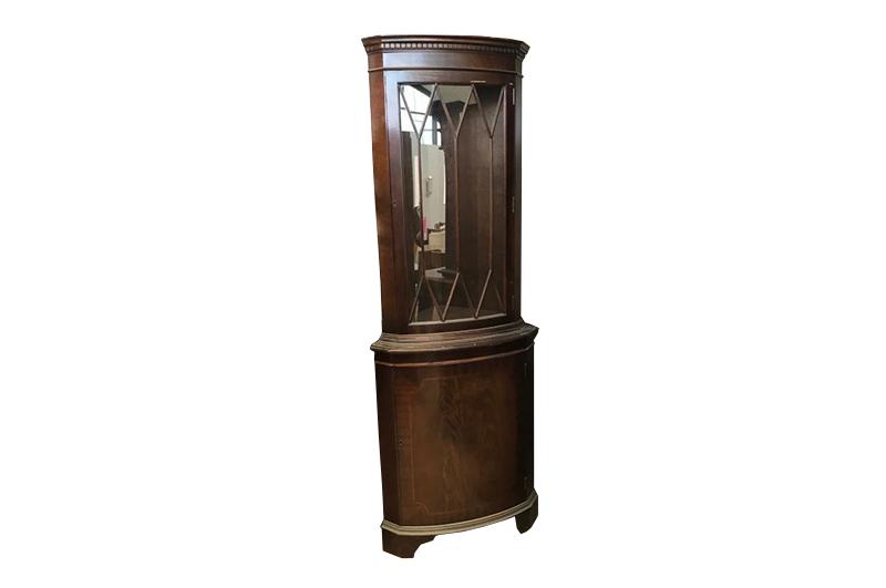 Display Cabinet, Unrestored, Brown, Great Foot, Veneer, Antique, Living Room