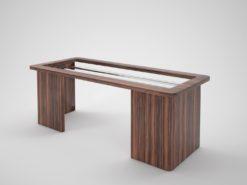 open design macassar desk, wood, office, interior design, interiors, office, steel, glass top, table, home design, decoration