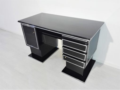 Narrow Bauhaus Desk in High Gloss Black, Piano lacquer, design, interior, decoration, chrome bars, original, germany ,1930s