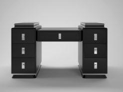 modernist black art deco design tower desk, unique, interior design, office furniture, chrome handles, bars, decoration, luxury, high gloss
