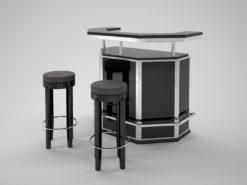 Black and Chrome Art Deco Bar, stooling, bar, design, interior design, steel, footrest, luxury, furniture, interior design