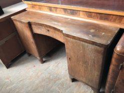desk, unrestored, brown, great foot, veneer, antique, living, elegant, pattern, luxury, large, stable, pattern, table, desks