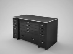 High Gloss Black desk with drawer front, lacquer, high end office furniture, chrome details, storage, file drawer, interior design