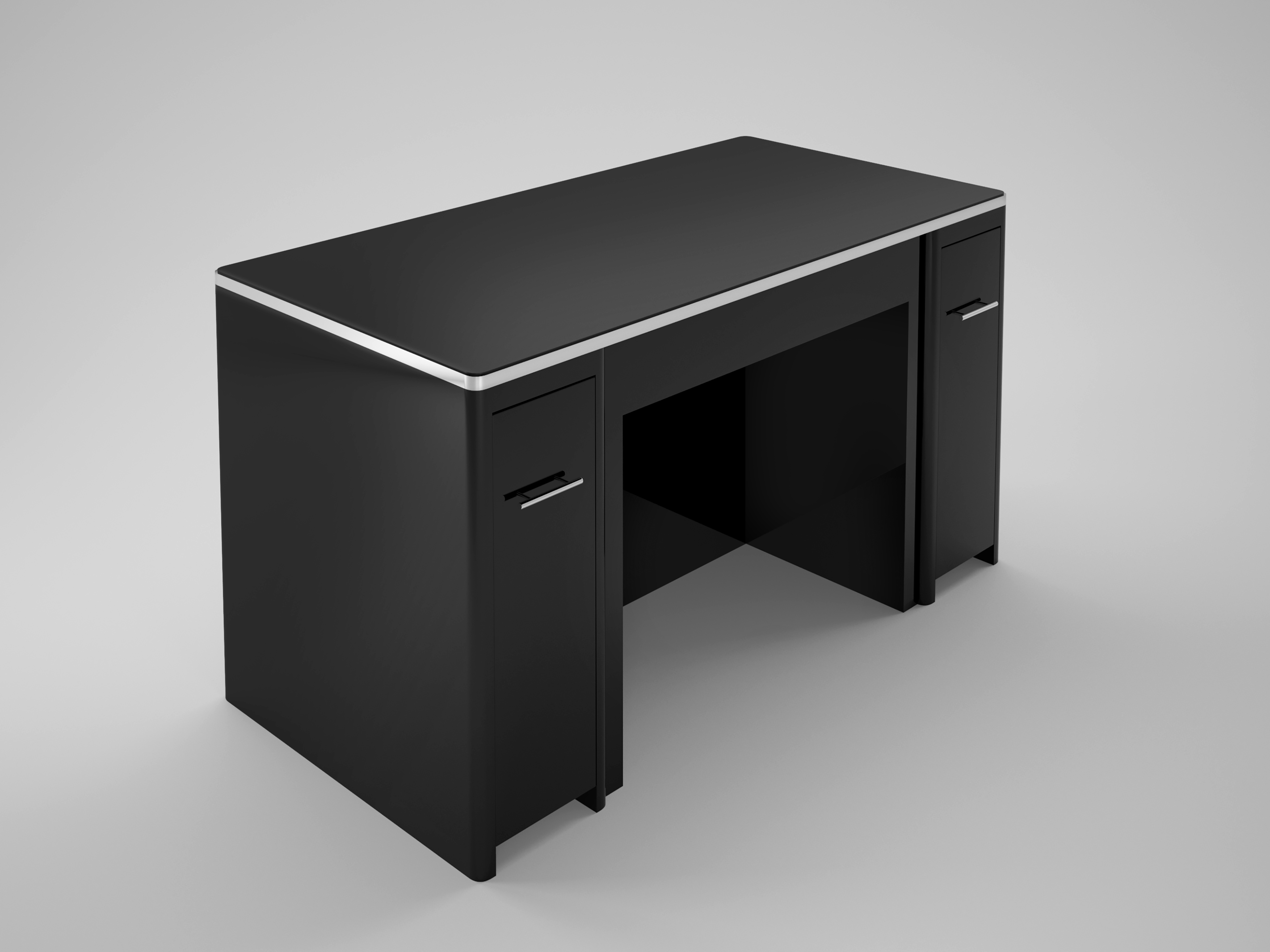 High Gloss Black Desk With Drawer Front