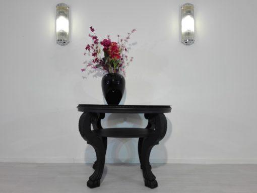 1920s Black Side Table with Lion Feet, matt, high gloss top, lacobel-glass, design, original, french, Art Deco, interior design
