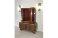 Display cabinet, unrestored, brown, great foot, veneer, antique, living room, elegant, pattern, luxury, large, stable, pattern, glass