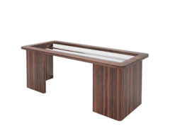 open design macassar desk, wood, office, interior design, interiors, office, steel, glass top, table, home design, decoration