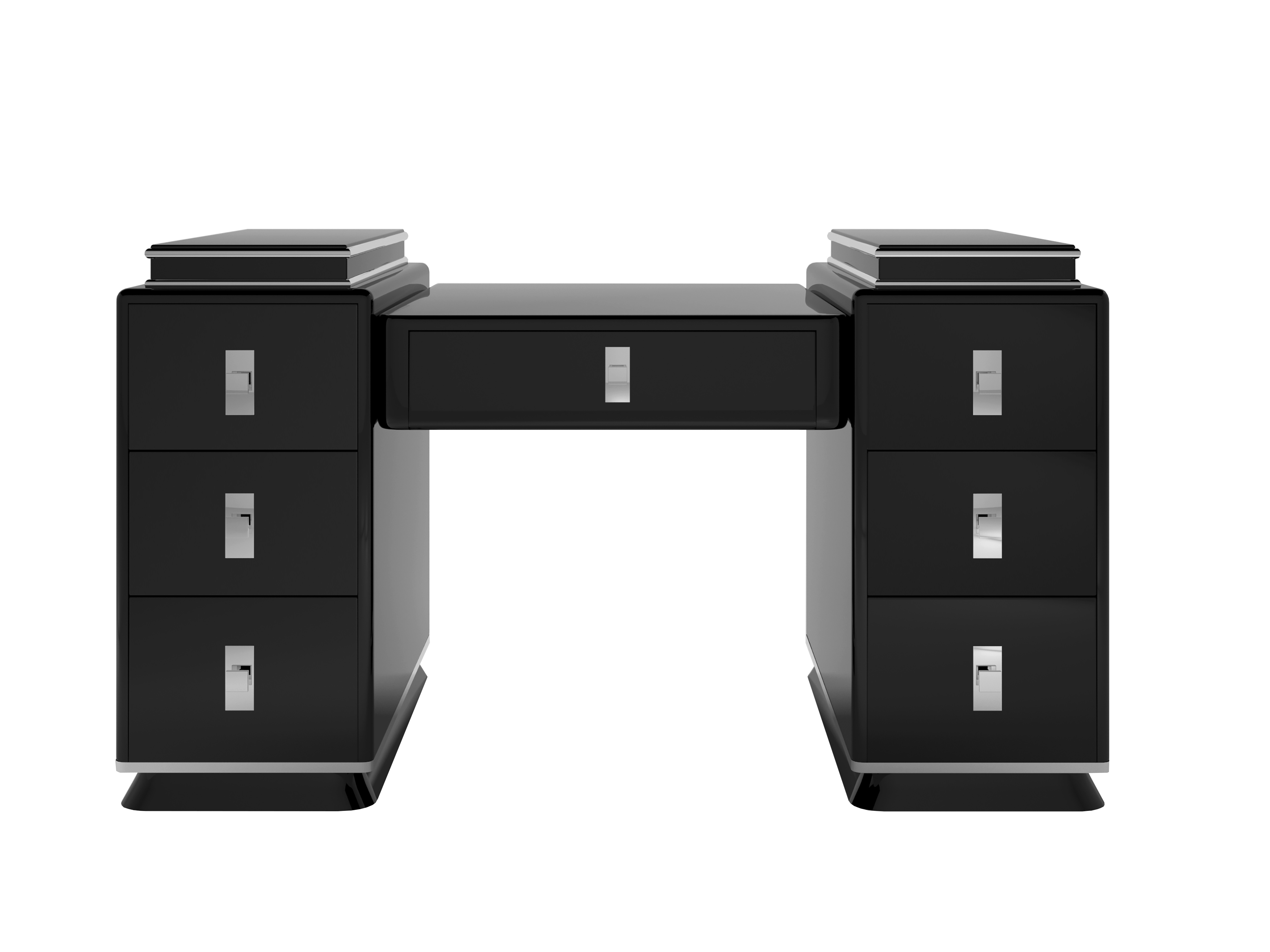 Modernist black art deco design tower desk unique interior design office furniture