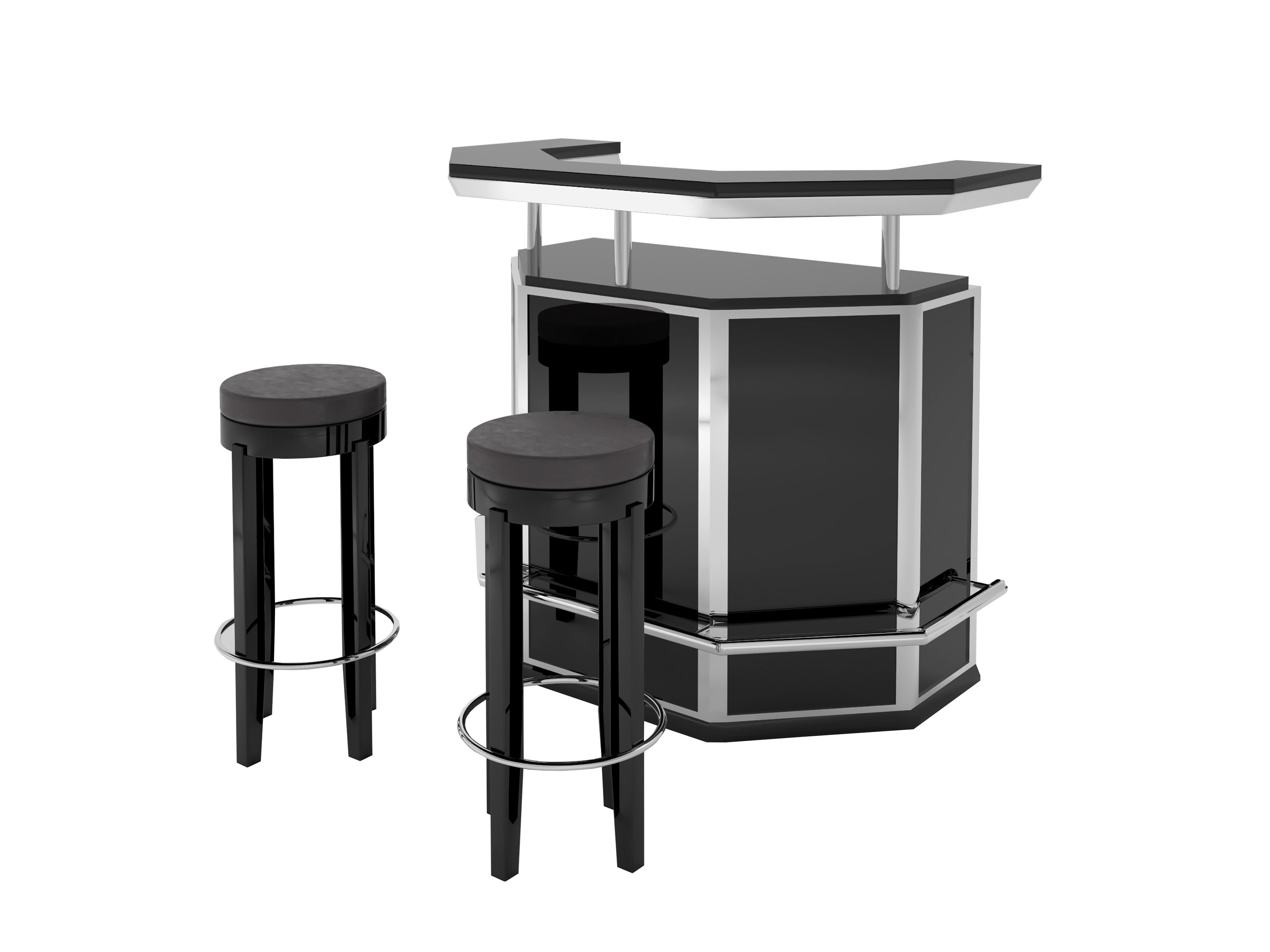 Custom Black and Chrome Art Deco Bar with Stooling - Original ...