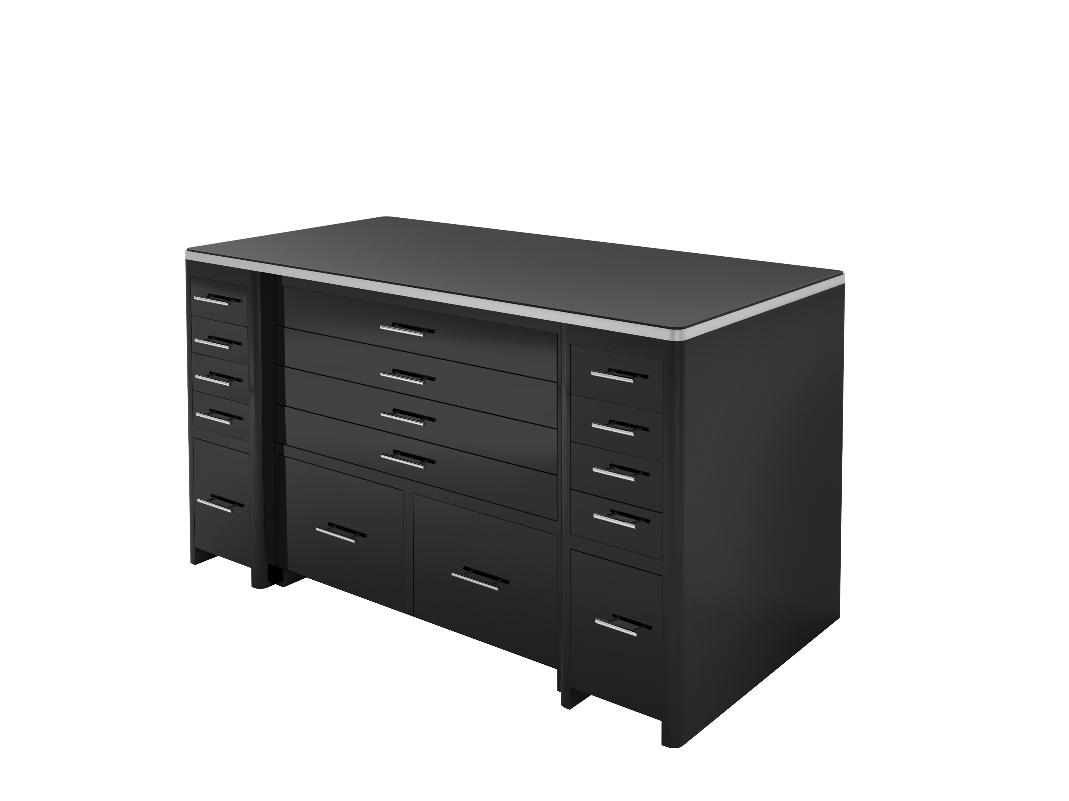 High Gloss Black Desk With Drawer Front, Lacquer, High End Office Furniture,  Chrome