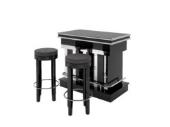 high end cubic bar with stooling, black, high gloss lacquer, chrome applications, details, interior design, home decoration, serving furniture