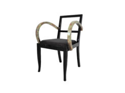 French Art Deco chair with beaten metal, gold, bronze, armrests, pianolacquer, seating, furniture, design, interior, luxurios, restoration, original