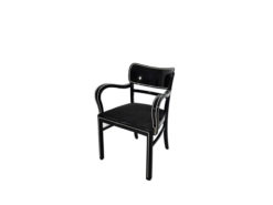 Black Art Deco Chair with Chrome Bars, Original, furniture, interior design, high gloss lacquer, piano finish, luxurious home, seating