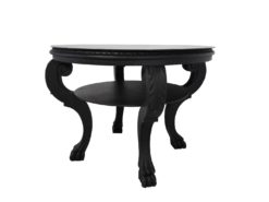 1920s Black Side Table with Lion Feet, matt, high gloss top, lacobel-glass, design, original, french, Art Deco, interior design