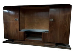 sideboard, unrestored, brown, great foot, veneer, antique, living, elegant, pattern, luxury, large, stable, pattern, vitrine